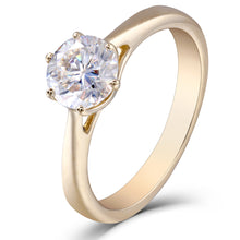 Women's Ring 10K Yellow Gold Moissanite Simulated Diamond - Planet service