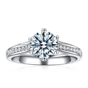 Women's 1 Carat D/VVS Round Diamond Ring 10k White Gold - Planet service