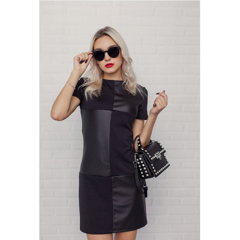 Women Vintage Leather Patchwork Mini Dress Long Sleeve O neck - Planet service