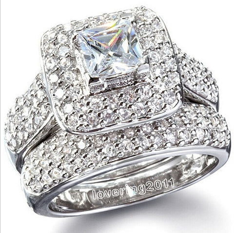 Women Ring 134Pcs Stone 5A Zircon stone 14KT White Gold - Planet service
