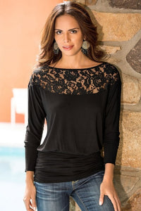 Women's T-Shirt Casual Patchwork Lace Tops Tees Long Sleeve - Planet service