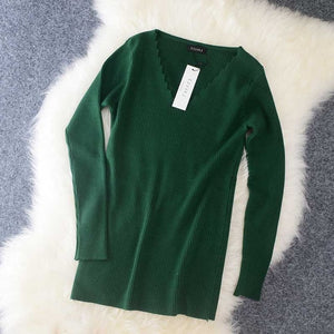 Women's Knitted Sweater Pullovers long sleeve Cut V-neck