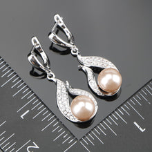 Women's Zircon Pearls Set of Earrings Pendant Necklaces - Planet service