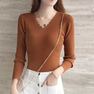 Women's Knitted Sweater Pullovers longsleeve Cut V-neck-Planet service
