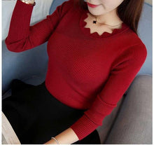 Women's Knitted Sweater Pullovers long sleeve Cut V-neck - Planet service