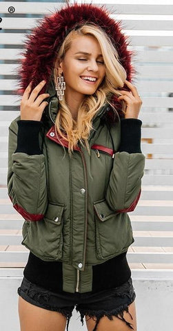 Women Hood padded parka winter jacket  Fur warm pocket - Planet service