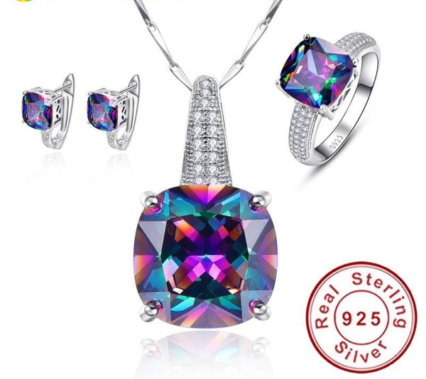 Rainbow Mystic Colorful Topaz Pendant Necklace/Ring/Earring - Planet service