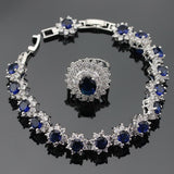 Women Jewelry Sets Zirconia Necklace Bracelets Earrings Rings - Planet service