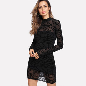 Women Dress Black Long Sleeve Stand Collar Sheer - Planet service