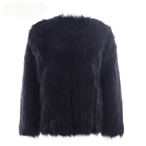 Women's Casual furry faux Fake fur coat short - Planet service