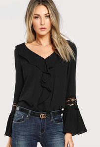 Women's Elegant Blouse Ruffle Neck Lace Flare Sleeve - Planet service