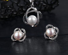 Jewelry Set Natural Freshwater Pearl Necklace Pendant Earrings - Planet service