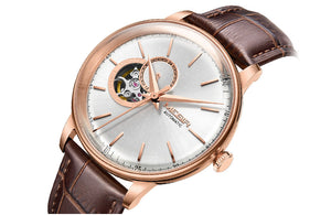 Men's Mechanical Wristwatch Rose Gold Leather Strap - Planet service
