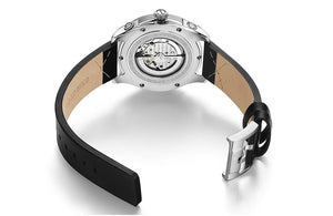Men's Black Leather Strap Mechanical Wristwatch Rose Gold - Planet service