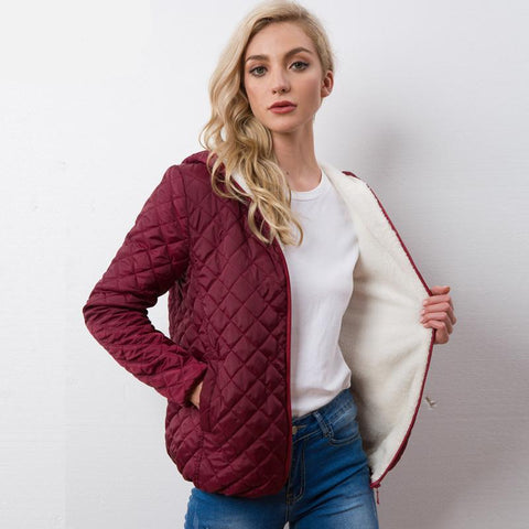 Women plus velvet lamb hooded Coats Cotton Winter Jacket - Planet service