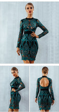 Women's Mesh Hollow Out Mini Luxurious Dress Long Sleeve - Planet service