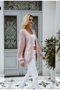 Women's casual warm knitted sweater cardigan - Planet service