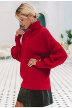Women's Turtleneck Knitted Sweater pullover lantern sleeve - Planet service
