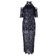 Women's Elegant Tassels Fringe Mesh Runway Dress - Planet service