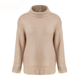 Women casual knitted sweaters drop sleeve turtleneck - Planet service