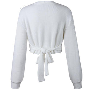 Women Sweaters Off Shoulder Bow Lantern Sleeve - Planet service