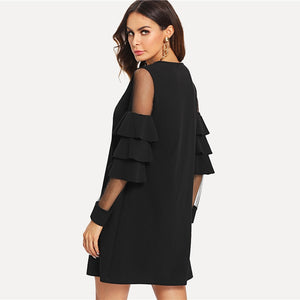 Women's Elegant Mini Dress Contrast Mesh Sleeve O-Neck - Planet service