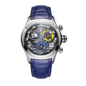 Women Steel Skeleton Watch Blue Strap Sport Watch - Planet service