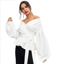 Women Blouse Lantern Sleeve Surplice Peplum - Planet service