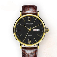 Men Automatic Mechanical Watch Sapphire Genuine Leather - Planet service