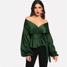 Women Blouse Off Shoulder Lantern Sleeve Surplice Peplum - Planet service