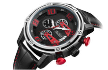 Men Chronograph Quartz Wristwatch Leather Strap Leisure - Planet service