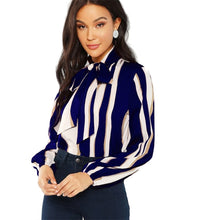 Women's Elegant Blouse Blue Pullovers Tie Neck Long Sleeve - Planet service