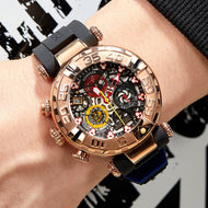 Men's Watch Chronograph Rose Gold Skeleton  Waterproof - Planet service