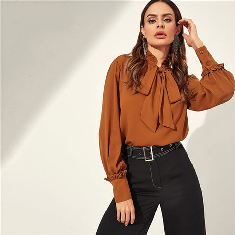 Women Elegant Blouse Tie Neck Bishop Sleeve Buttoned Cuff - Planet service