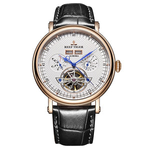 Men's Watch Mechanical Genuine Leather Strap - Planet service