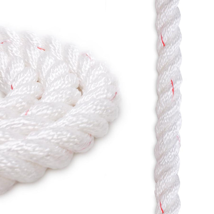 1/2 Polyester Combo Rope - White w/ Red Tracer
