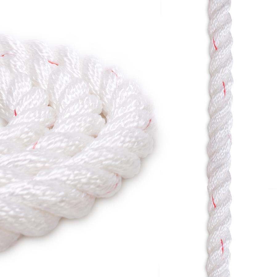 3/8 Polyester Combo Rope - White w/ Red Tracer