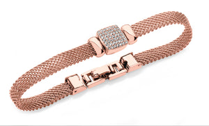 Bailey & Brooke Chain Mail Square Bracelet - Rose Gold