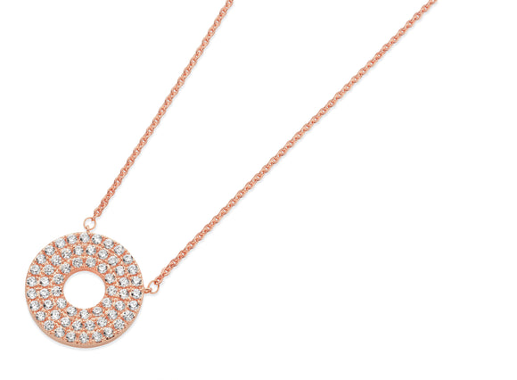 Pave Triple Band Moon Pendant Rose Gold