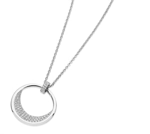 White Floating Moon Pendant Silver
