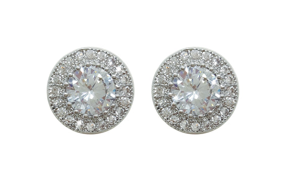Silver Round Earrings Pave Set Surround