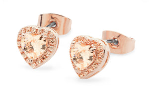 Bailey & Brooke Diamante Heart Drop Earrings - Rose Gold