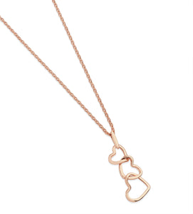 Triple Heart Drop Pendant - Rose Gold
