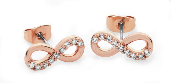 Part Stone Set Infinity Stud Earrings - Rose Gold