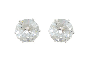 Silver Stud Earrings Clear Stone 9mm