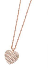 Bailey & Brooke Cushion Pave Heart Pendant - Rose Gold