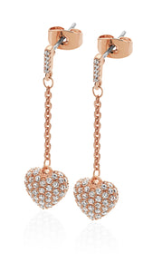 Bailey & Brooke Cushion Pave Heart Earrings - Rose Gold