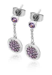 Lavendar Double Moon Drop Earrings - Silver