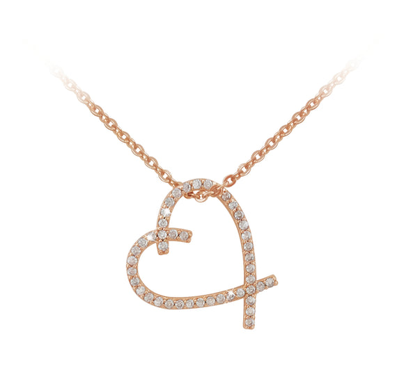 Rose Gold Freehand Heart Pendant