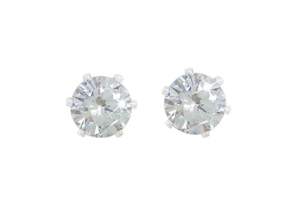 Silver Stud Earrings Clear Stone 4mm